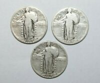 1926, 27 & 30, 25 CENTS STANDING LIBERTY QUARTERS USA 3 SILVER HIGH VALUE COINS