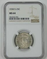 1930-S STANDING LIBERTY QUARTER CERTIFIED NGC MINT STATE 64 SILVER 25C
