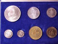 SOUTH AFRICA 7 COIN PROOF SET 1964 GEM NICE IN CASE 5 SILVER
