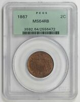 TWO CENT PIECES 1867 P PCGS MINT STATE 64 RB  OGH
