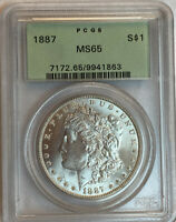 1887 MORGAN SILVER DOLLAR PCGS MINT STATE 65 OLD GREEN LABEL