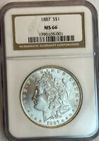 1887 MORGAN SILVER DOLLAR NGC MINT STATE 66
