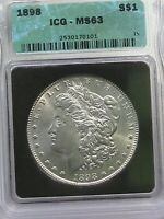 BU 1898 MORGAN DOLLAR ICG MINT STATE 63.  1