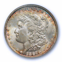 1887 $1 MORGAN DOLLAR NGC MINT STATE 65 UNCIRCULATED TONED BEAUTY PRETTY