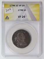 LARGE CENTS DRAPED BUST 1798 2ND HAIR STYLE ANACS VF-25