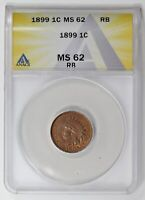 SMALL CENTS INDIAN HEAD 1899  ANACS MINT STATE 62
