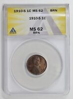 SMALL CENTS LINCOLN, WHEAT EARS REVERSE 1910 S ANACS MINT STATE 62