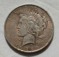1922-P PEACE DOLLAR SILVER $1 COIN US CURRENCY COLLECTIBLE BEAUTIFUL GOLD TONING