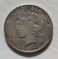 1922-P PEACE DOLLAR SILVER $1 COIN US CURRENCY COLLECTIBLE BLUE AND GOLD TONING