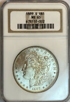 1889-S MORGAN SILVER DOLLAR NGC MINT STATE 65 BETTER DATE