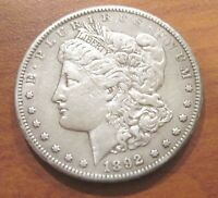 1892-CC CARSON CITY $1 MORGAN SILVER DOLLAR CLEANED EXTRA FINE  T9