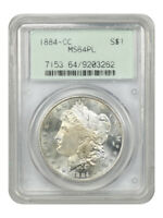 1884-CC $1 PCGS MINT STATE 64 PL OGH OLD GREEN LABEL HOLDER - MORGAN SILVER DOLLAR