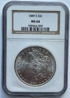 1889-S MORGAN SILVER DOLLAR NGC MINT STATE 64