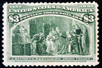 US $3 SC243 MINT LIGHTLY HINGED WITH ORIGINAL GUM TINY THIN