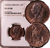 NGC MS 65 RED BN GREAT BRITAIN 1/2 PENNY 1889/8  LOOKS PROOF