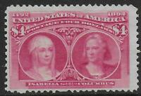UNITED STATES STAMPS 1893 4$ COLUMBUS UNG VF