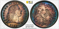 1794 H10C FLOWING HAIR HALF DIME PCGS MINT STATE 62 UNCIRCULATED TONED BEAUTY EXCEPTI