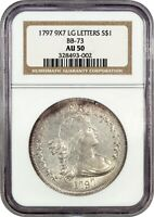 1797 $1 NGC AU50 9X7 STARS, LARGE LETTERS, BB-73 - TOUGHER EARLY DOLLAR