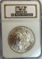 1883-S MORGAN SILVER DOLLAR NGC MINT STATE 63  DATE