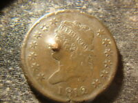 1812 EXTRA FINE  DETAIL CLASSIC HEAD LARGE CENT  OBVERSE PUNCH MARK DEL
