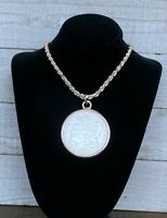 1921S MORGAN DOLLAR IN STERLING BEZEL ON A 22 INCH STERLING SILVER ROPE CHAIN