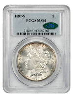 1887-S $1 PCGS/CAC MINT STATE 61 - MORGAN SILVER DOLLAR