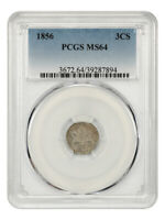 1856 3CS PCGS MINT STATE 64 - 3-CENT SILVER - GREAT TYPE COIN