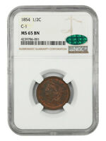 1854 1/2C NGC/CAC MINT STATE 65 BN C-1 - BRAIDED HAIR HALF CENTS 1840-1857