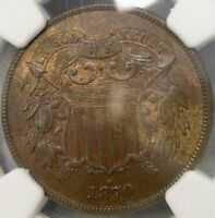 1870 TWO CENT PIECE   UNC BEAUTIFUL CHOICE NGC MINT STATE 63 BROWN