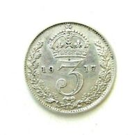 UK GREAT BRITAIN COINS, THREEPENCE 1917, GEORGE V, SILVER 0.925