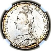 1889 QUEEN VICTORIA GREAT BRITAIN LONDON MINT SILVER CROWN COIN NGC MS63