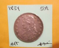 1834 CAPPED BUST HALF DOLLAR LARGE DATE SMALL LETTERS APPEAR