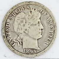1894 O NEW ORLEANS BARBER DIME SILVER TEN CENTS U.S.A. COIN AMERICAN ANTIQUE