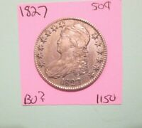 1827 CAPPED BUST HALF DOLLAR SQUARE BASE 2 APPEARS UNC OR BU