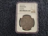1891 CC MORGAN SILVER DOLLAR NGC  FINE  DETAILS AUTHENTICATED GENUINE