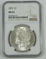 1879 MORGAN SILVER DOLLAR CERTIFIED NGC MINT STATE 63