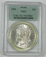 1886 MORGAN DOLLAR CERTIFIED PCGS MINT STATE 63 SILVER DOLLAR  OLD GREEN HOLDER