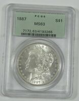 1887 MORGAN DOLLAR CERTIFIED PCGS MINT STATE 63 SILVER DOLLAR  OLD GREEN HOLDER