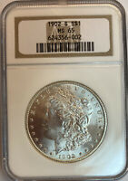 1902-S MORGAN SILVER DOLLAR NGC MINT STATE 65