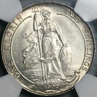 1902 NGC MS 62 EDWARD VII FLORIN GREAT BRITAIN STERLING SILVER COIN  21081701D