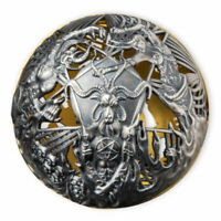 HEAVEN AND HELL 2 OZ ANTIQUE FINISH SILVER COIN 5$ SAMOA 202
