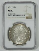 1886-S MORGAN SILVER DOLLAR CERTIFIED NGC MINT STATE 62