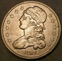 1832 CAPPED BUST SILVER QUARTER APPEALING BEAUTIFUL  ONLY 320 000 STRUCK