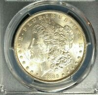 1885 MORGAN SILVER DOLLAR  PCGS MINT STATE 62 BEAUTIFUL COIN REF3707