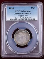 1838 CAPPED BUST QUARTER 25C SILVER   PCGS XF DETAIL CLEANED