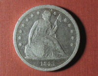 1843 SEATED LIBERTY DOLLAR   POLISHED COIN WITH STRONG DETAI