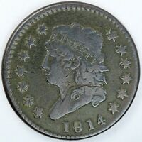 1814 UNITED STATES CLASSIC HEAD LARGE CENT / PENNY - F FINE