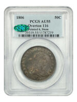 1806 50C PCGS/CAC AU55 POINTED 6, STEMS GREAT TYPE COIN - BUST HALF DOLLAR