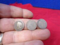 ATTIC FIND   . 3 CANADA  SILVER 5 CENTS COINS 1