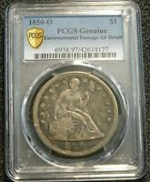 1850-O NEW ORLEANS MINT SEATED LIBERTY SILVER DOLLAR PCGS EXTRA FINE  DETAIL